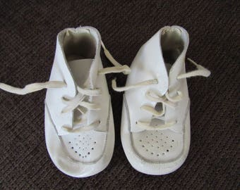 Vintage White Leather Baby Shoes Free Shipping