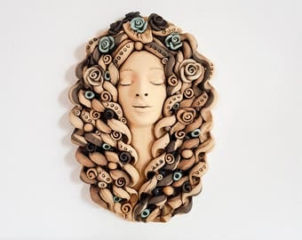 Patio decor Ceramic wall art wall mask | Rustic Wall decoration ceramic Women Face Sculpture | Wall decal | Wall hanging home decor