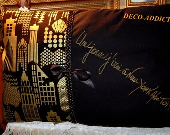 Black and gold New York designer cushion unique