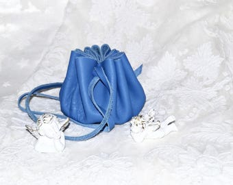 Lovely medieval blue leather purse