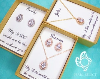 bridesmaid gift set,bridesmaid earrings,bridesmaid necklace,bridal party gift,Personalized Bridesmaids Gift,Cubic Zirconia earrings