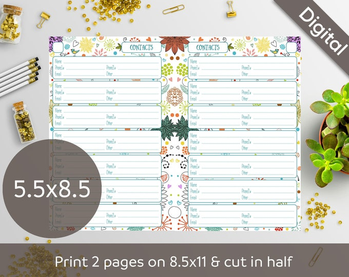 graphic relating to Free Printable 5.5x8.5 Planner Pages called 5.5x8.5 Include E-book Web pages Printable, Speak to Sheets, Fifty percent dimensions, Syasia Lovable Floral Working day Organizer, Do-it-yourself Planner PDF Fast Down load