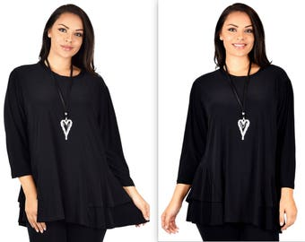 Adorable and Romantic, Plus Size Tunic, Full Figure Tunic,  Plus size top,Top XL TO 7XL, Traveler, Lagenlook, Boho, Country
