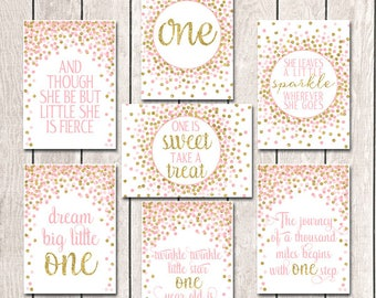 5x7 First Birthday Party Decor Set First Birthday Sign Pink Gold Birthday Party Decor Pink Gold Party Decorations Girl Birthday Party Sign