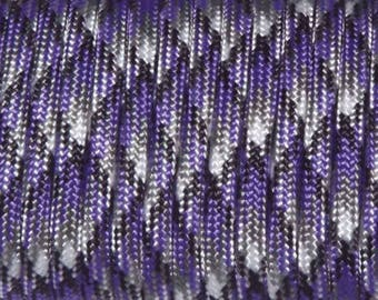 30 feet of Paracord 4mm purple Camo ideal for survival bracelets