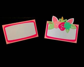 Unicorn Place Cards / Food Tents - unicorn name cards - unicorn birthday -  unicorn decorations - party supplies
