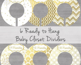 ON SALE - Gold Baby Closet Dividers - Girl Nursery Closet Divider - Baby Shower Gift - White Closet Dividers - Gold Foil Dividers