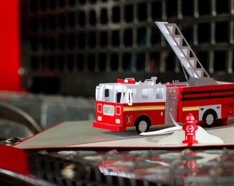 Fire truck Card, Fire truck Pop Up Card, 3D Fire truck Card, Card for Firefighter, Firefighter Card, Firefighter Pop Up Card, Lovepop