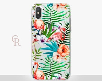 Flamingo Phone Case - Clear Case - For iPhone 8 - iPhone X - iPhone 7 Plus - iPhone 6 - iPhone 6S - iPhone SE Transparent - Samsung S8 Plus