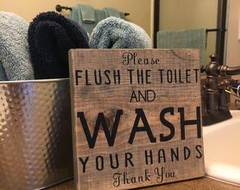 Bathroom Signs Nz please flush | etsy nz