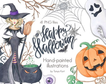 Autumn Clipart, Halloween Clipart, Hand-painted Clipart, October Clipart, Witches clipart, Pumpkins clipart, Halloween girls, Autumn Girl