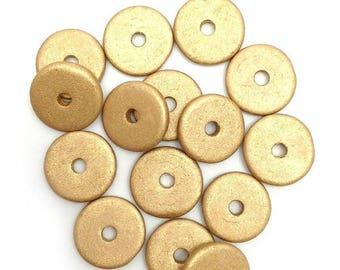 SALE 10% OFF 15 ceramic discs yellow metallic, ceramic beads, 13mm, 15 pieces, gold, ceramic beads, greek beads, mykonos, discs