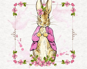 Peter Rabbits sister Flopsy, in her pink coat floral border, Cotton Feel Polyester Printed Fabric Panels -   8x8 inch, 12x12 inch