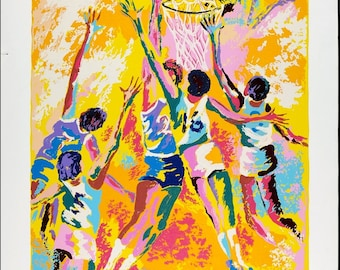Vintage Basketball Print by Isaac Goody Edition Numbered 295 Signed in Pencil