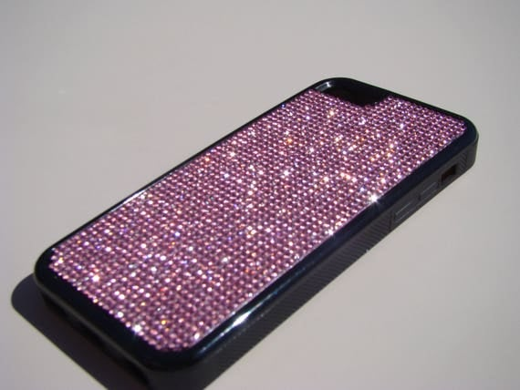 iPhone 5C Pink Diamond Rhinestone Crystals on Black Rubber Case. Velvet/Silk Pouch Bag Included, Genuine Rangsee Crystal Cases.