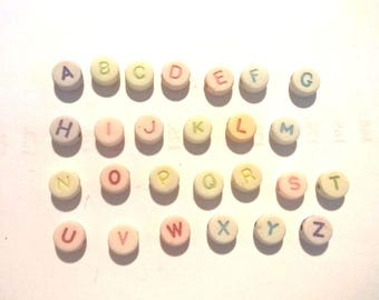Set of full - multicolored ALPHABET beads letters