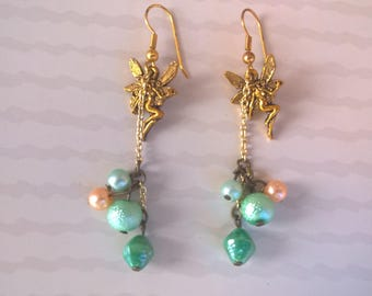 Fairies with pearls and gemstones - green salmon pastel beads and gold dangle earrings tender