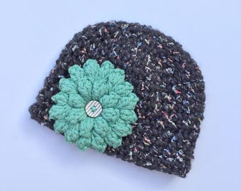 Teal Flower Hat, Ready to Ship, Crochet Flower Hat, Flower Hat, Baby Girl Flower Hat