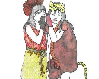 "Original illustration ""Secrets"", 30 X 40 cm, CHR."