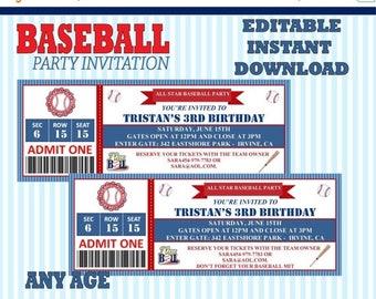 60% OFF Baseball Editable Birthday Invitation, Instant Download, DIY, PDF and Jpeg, Printable Invitation,  batter up, Sports, Vintage baseba
