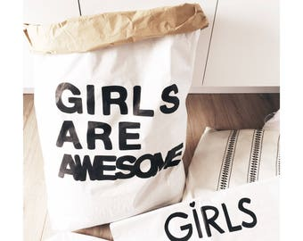 GIRLS ARE AWESOME/paper bag//hand painted, storage of books, clothes ... For teenage rooms