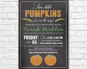 TWINS BABY SHOWER invitation - Two little pumpkins -  gender neutral baby shower invitation- chalkboard baby shower invite- Twins pumpkin