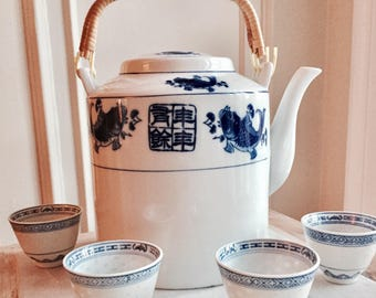 Giant Chinese Blue and White Porcelain Teapot with Bamboo Handle