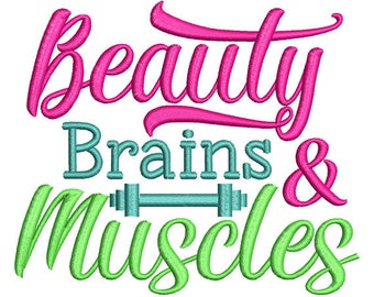 Beauty Brain & Muscles Applique Embroidery Design