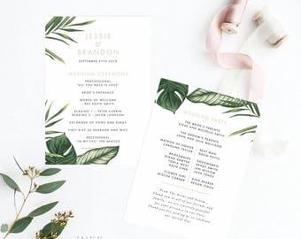 Printable Wedding Program - Modern Tropical Foliage Wedding Program PDF- Wedding Reception Program Fan - Letter or A4 Size (Item code: P401)