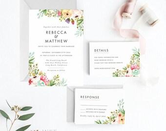 Peach Floral Blush Wedding Invitation Suite Printable, Wedding Invitation Printable, Invitation Set, Letter or A4 (Item code: P1038)