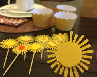 Yellow Sun Paper Straw or Cupcake Topper