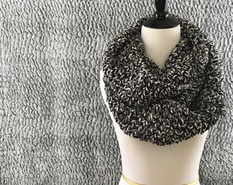 Chunky Scarf, Blanket Scarf, Infinity Scarf, Gray, Black, and White Scarf, Crochet Scarf, Chunky Crochet, Circle Scarf, Winter Accessory