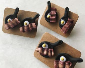 Bacon Breakfast earrings hypo allergenic plastic post studs