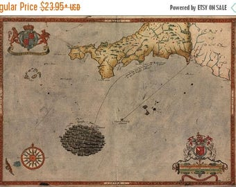 40% OFF SALE Poster, Many Sizes Available; Spanish Armada Map Sir Francis Drake 1590 P1