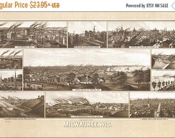 40% OFF SALE Poster, Many Sizes Available; Milwaukee Wisconsin 1882
