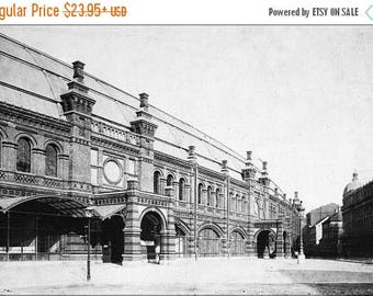 40% OFF SALE Poster, Many Sizes Available; Berlin Friedrichstrasse Railway Train Station 1885