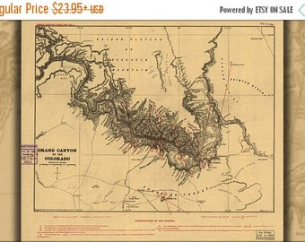 40% OFF SALE Poster, Many Sizes Available; Map Of Grand Canyon Of The Colorado River 1904