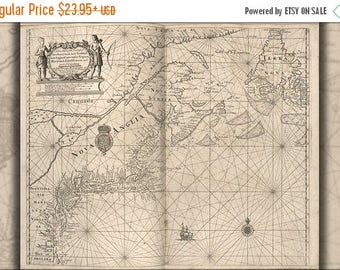 20% Off Sale - Poster, Many Sizes Available; Map Newfoundland New Scotland New England 1700