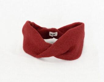 Red headband turban in 100% wool