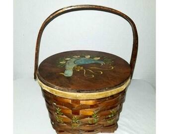 Vintage Woven Sewing Basket,Hand Painted Bird,Sewing Box,Lined Woven Basket,Shabby Chic,Bird Sewing Basket,Rustic,Primitives,Seamstress