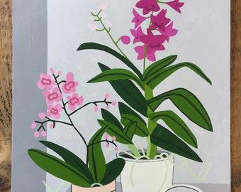 Pink orchids still life original oil painting