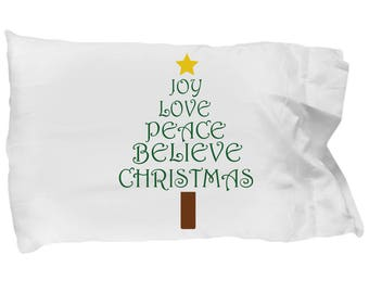 Christmas Pillowcase, Holiday Pillowcase, Holiday Bedding, Holiday Sheets, White Elephant Gift