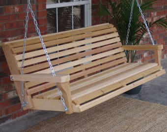 Brand New 4 Foot Cedar Wood Classic Porch Swing with Heavy Duty Chain and Springs - Free Shipping