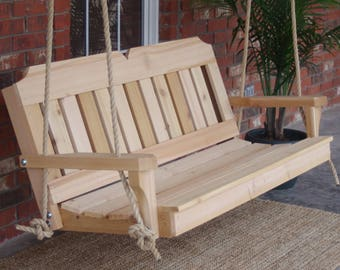 Brand New 7 Foot Cedar Wood Victorian Porch Swing with Hanging Rope - Free Shipping
