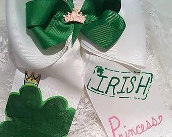 Irish Princess Hand painted Hair Bow