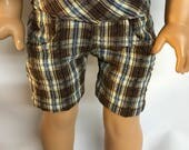 Brown and Blue Plaid Shorts 18 inch boy doll shorts 18 inch boy doll clothes