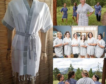 Grey and white bridesmaid robes // Turkish kimono kaftan robes // cotton wedding party robe // bridal party shower robes // robe for women