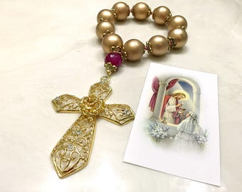 First Communion Gift. First Communion Rosary. Gold Wood Rosary. Door knob Rosary. Big Rosary. Child Rosary. Catholic Gift. #2HD16