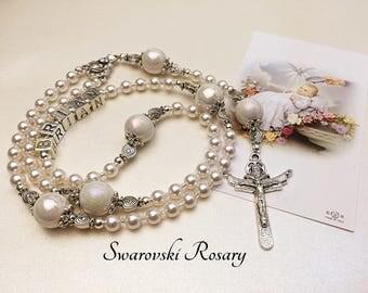 Personalized Baptism Rosary. Swarovski Pearls. White Rosary. Catholic Rosary. Catholic Gift. Christening Rosary. Baby Rosary. #R83