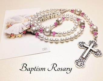 Baptism Rosary. Baby Rosary. White and Pink Rosary. Christening Rosary. Girl Rosary. First Communion Rosary. Catholic Rosary. #R136